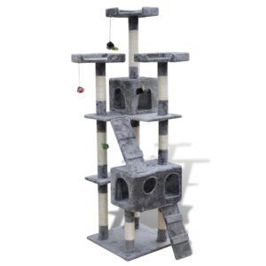 Arranhador para Gatos com 2 Condomínios 170 cm Cinzento - PORTES GRÁTIS