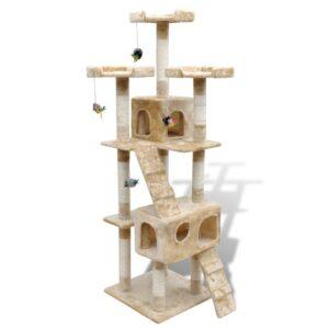 Arranhador para gatos com 2 gateras 170 cm / Amarelo - PORTES GRÁTIS