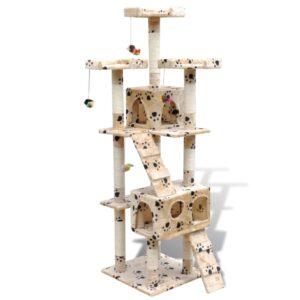 Arranhador para gato com 2 gateras + estampo de pata, bege,170 cm - PORTES GRÁTIS