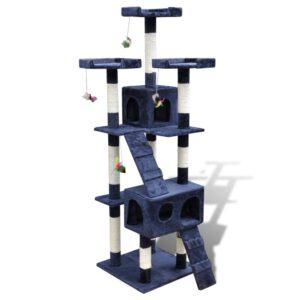 Arranhador para gatos com 2 gateras, 170 cm / Azul escuro - PORTES GRÁTIS