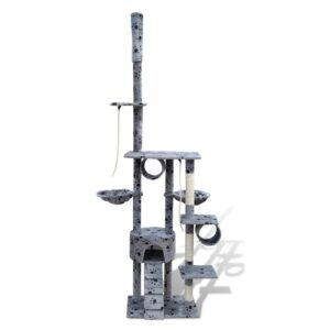 Arranhador para gato com 1 gatera + estampo de pata, 220-240 cm, cinza - PORTES GRÁTIS