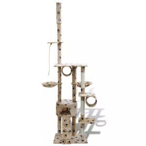 Arranhador para gato com 1 gatera + estampo de pata, 220-240 cm, bege - PORTES GRÁTIS