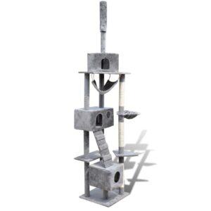 Arranhador para gatos com 3 gateras, 220-240 cm / Cinza - PORTES GRÁTIS