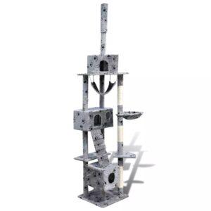 Arranhador para gato com 3 gateras + estampo de pata, 220-240cm, cinza - PORTES GRÁTIS