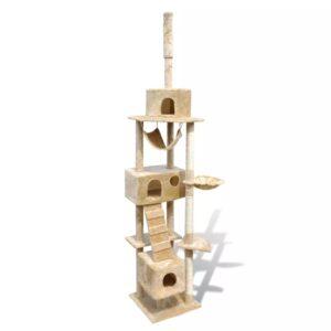 Arranhador para gatos com 3 gateras, 220-240 cm / Amarelo - PORTES GRÁTIS