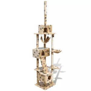 Arranhador para gato com 3 gateras + estampo de pata, 220-240cm, bege - PORTES GRÁTIS