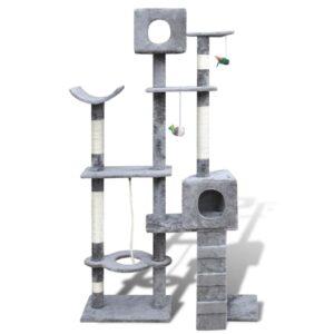 Arranhador para gatos com 2 gateras, 175 cm / Cinza - PORTES GRÁTIS
