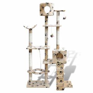 Arranhador para gato com 2 gateras + estampo de pata, 175 cm, bege - PORTES GRÁTIS