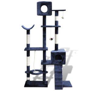 Arranhador para gatos com 2 gateras, 175 cm / Azul escuro - PORTES GRÁTIS