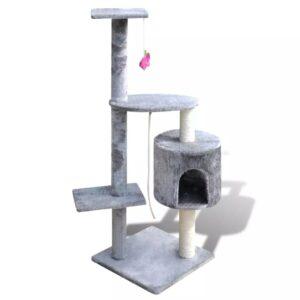 Arranhador para gatos com gatera, 114 cm / Cinza - PORTES GRÁTIS