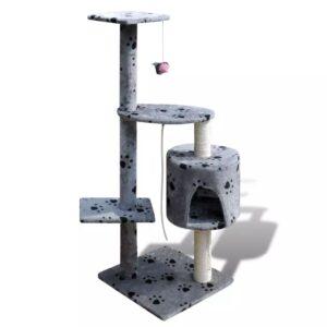 Arranhador para gatos com gatera, 114 cm / Cinza com cópia da pata - PORTES GRÁTIS