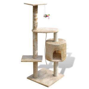 Arranhador para gatos com gatera, 114 cm / Amarelo - PORTES GRÁTIS