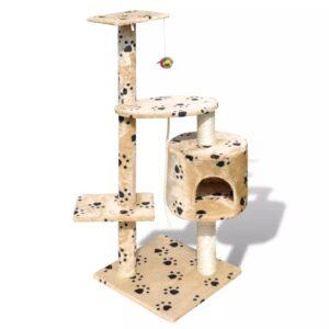 Arranhador para gatos com gatera, 114 cm / Amarelo com cópia da pata - PORTES GRÁTIS