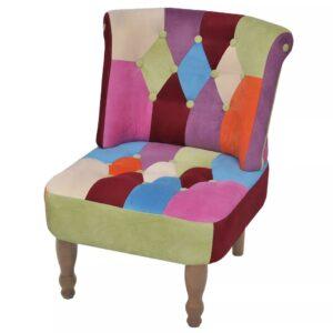 Cadeira francesa de tecido com design de retalhos - PORTES GRÁTIS