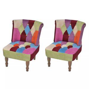 Cadeiras francesas 2 pcs tecido com design de retalhos - PORTES GRÁTIS