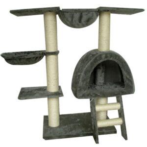 Arranhador para Gatos 105 cm Cinzenta de Pelúcia - PORTES GRÁTIS