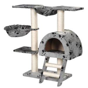 Arranhador para Gatos 105cm Cinza com Estampa de Patas - PORTES GRÁTIS