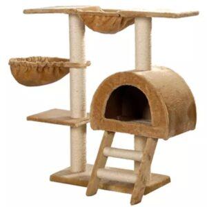 Árvore para gatos em pelúcia bege com 105 cm - PORTES GRÁTIS