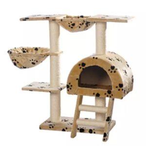 Arranhador para Gatos 105 cm / Bege com cópia de patas - PORTES GRÁTIS