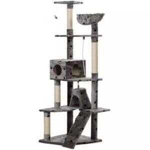 Arranhador para Gatos 191 cm / Cinza com cópia de patas - PORTES GRÁTIS