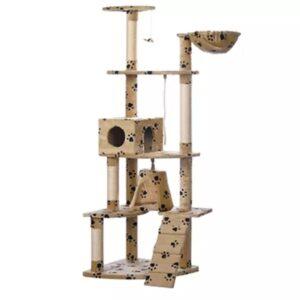 Arranhador para gatos 122 cm cor Bege com cópia da pata - PORTES GRÁTIS