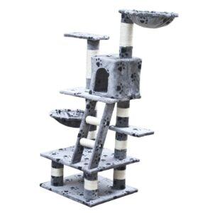 Arranhador para Gatos 122 cm / Cinza com cópia de patas - PORTES GRÁTIS