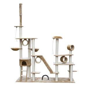 Arranhador para Gatos de Luxo 230-260 cm Branco Pelúcia - PORTES GRÁTIS