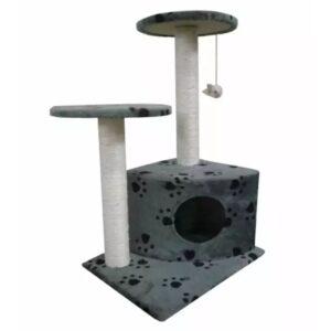 Arranhador para Gatos 70 cm / Cinza com cópia de patas - PORTES GRÁTIS
