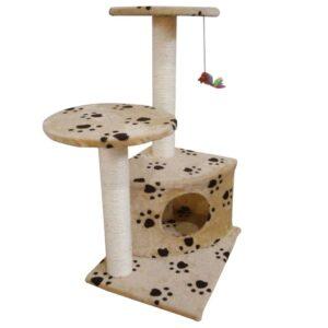 Arranhador gato com poste e estampo pata, bege - PORTES GRÁTIS