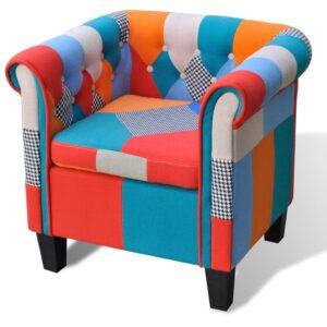 Poltrona de tecido com design de retalhos - PORTES GRÁTIS