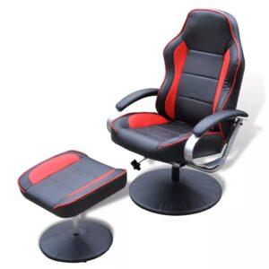 Poltrona ajustável + apoio pés, couro artificial preto/vermelho - PORTES GRÁTIS