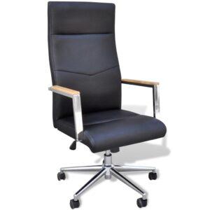 Cadeira giratória para escritório, couro artificial / Preta - PORTES GRÁTIS