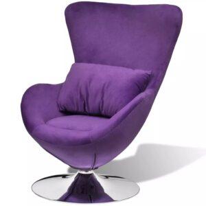 Cadeira giratória em forma de ovo com almofada pequena roxo - PORTES GRÁTIS