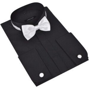 Camisa com abotoaduras e gravata-borboleta preta tamanho S - PORTES GRÁTIS