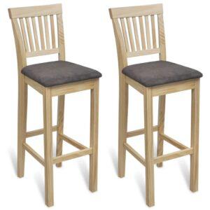 Cadeiras de bar 2 pcs madeira cor natural  - PORTES GRÁTIS
