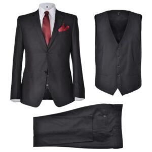 Terno 3 peças casaco, colete e calça de homem preto tamanho 48 - PORTES GRÁTIS