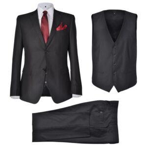 Terno 3 peças casaco, colete e calça de homem preto tamanho 52 - PORTES GRÁTIS