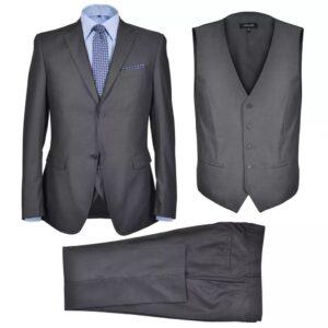 Terno 3 pçs casaco, colete, calça de homem cinzento antracite, size 46 - PORTES GRÁTIS