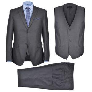 Terno 3 pçs casaco, colete, calça de homem cinzento antracite, size 48 - PORTES GRÁTIS