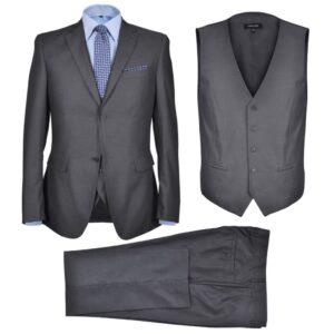 Terno 3 pçs casaco, colete, calça de homem cinzento antracite, size 50 - PORTES GRÁTIS