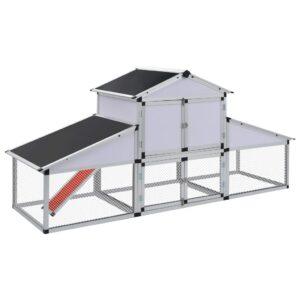 Galinheiro com zona exercício e caixa de nidificação alumínio - PORTES GRÁTIS