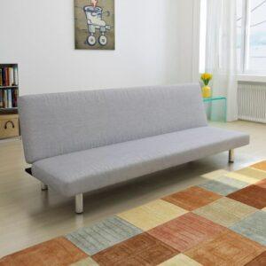 Sofá-cama poliéster cinzento claro - PORTES GRÁTIS