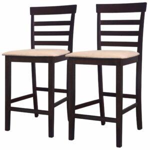 Cadeiras de bar 2 pcs madeira castanho e bege  - PORTES GRÁTIS