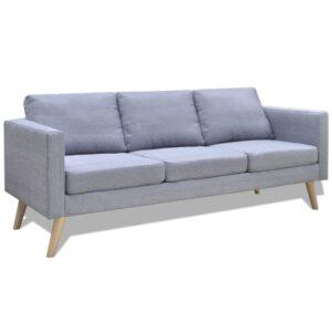 Sofá de 3 lugares em tecido cinzento claro - PORTES GRÁTIS