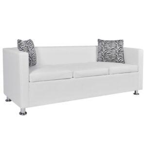 Sofá de 3 lugares couro artificial branco - PORTES GRÁTIS