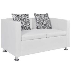 Sofá de 2 lugares couro artificial branco - PORTES GRÁTIS