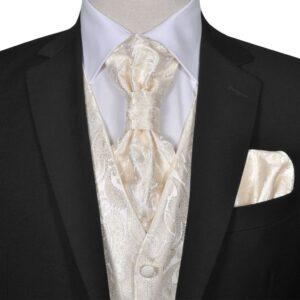 Conjunto colete de casamento para homem estampa caxemira tam. 50 creme - PORTES GRÁTIS