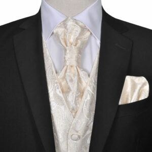 Conjunto colete de casamento p/ homem estampa caxemira tamanho 54 nata - PORTES GRÁTIS
