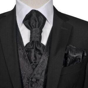 Conjunto colete de casamento para homem estampa caxemira tam. 48 preto - PORTES GRÁTIS