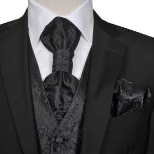 Conjunto colete de casamento para homem estampa caxemira tam. 52 preto - PORTES GRÁTIS